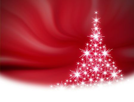 Christmas tree illustration on red background