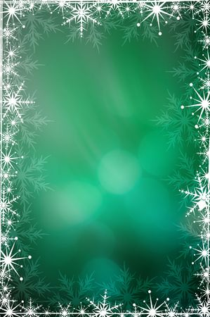 Green Christmas background with white snowflakes Stock Photo - 3784258