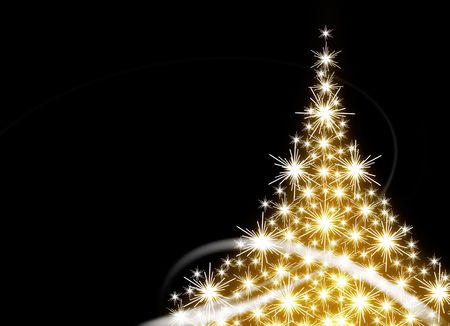 Golden Christmas tree on black background Stock Photo