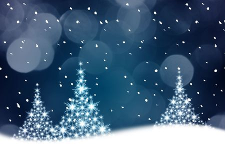 three month: Christmas tree illustration on blue background