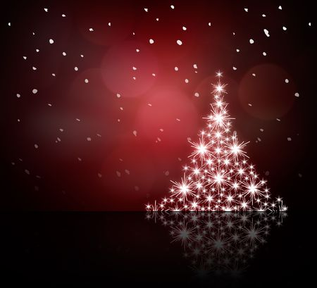 White Christmas tree on red background photo