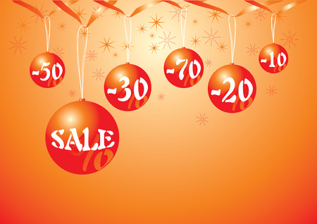 Christmas baubles with discount prices Vector