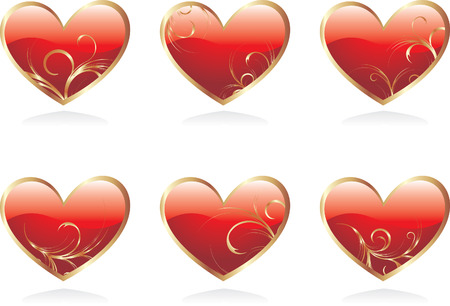 Glossy hearts Stock Vector - 3928164