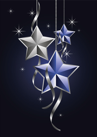 Beautiful christmas star decorations with curly ribbons Иллюстрация
