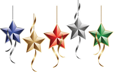 Beautiful christmas star decorations with curly ribbons Vector