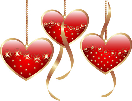 Red valentine hearts with golden decorations and ribbons Vector