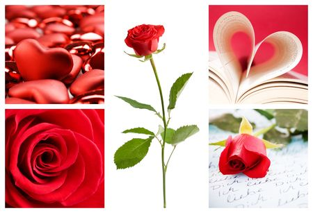 Valentine collage with roses and hearts photo