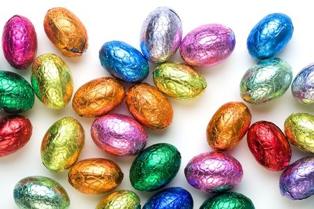 chocolate eggs: Chocolate easter eggs on white