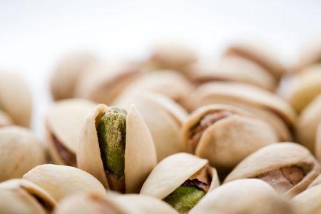 Bunch of pistachios, shallow focus Stock Photo