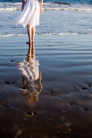 water reflection: Woman walking on the beach