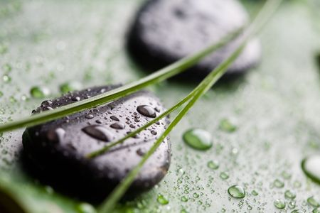 Black stones with water drops photo