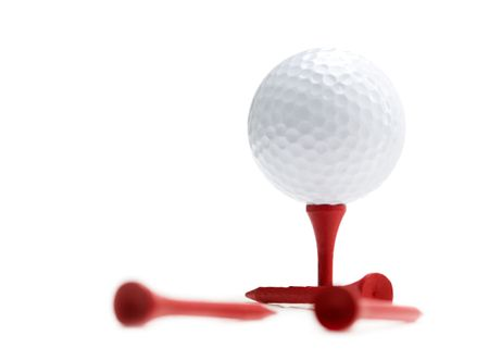 tee: Golf ball and tees isolated on white Stock Photo