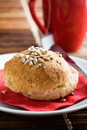 Homemade bread rolls with sonflower seeds photo