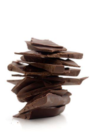 Blocks of milk chocolate on white background photo