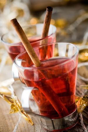 Hot christmas drink glogg with cinnamon sticks photo