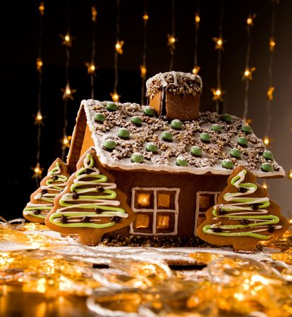 Beautiful gingerbread house with lights on dark background Stock Photo - 6094314