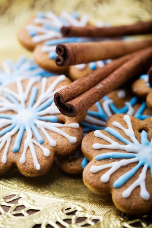 Gingerbread cookies decorated with blue and white
