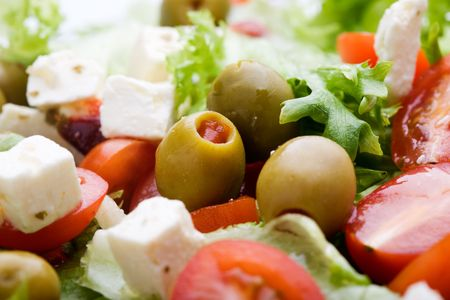Fresh salad with feta, olives and tomatoes