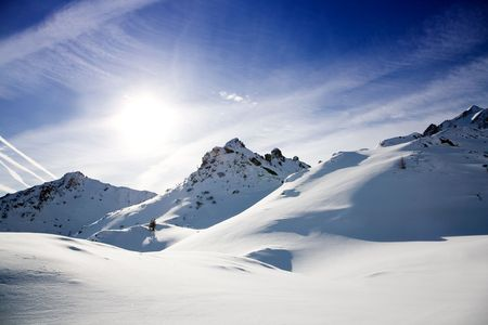 slopes: Beautiful alps landscape in sunny winter day