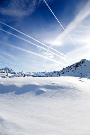 Beautiful alps landscape in sunny winter day photo