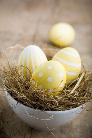 Painted easter egg in little bird nest Stock fotó