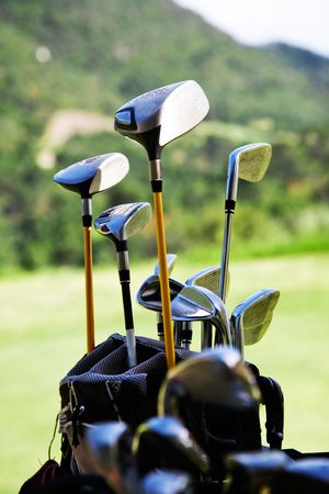 game equipment: Bunch of golf clubs in the bag Stock Photo