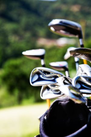 Bunch of golf clubs in the bag Stock Photo - 7004754