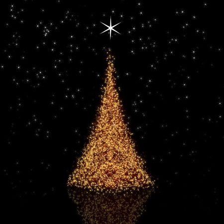 Golden Christmas tree on black background with reflection photo