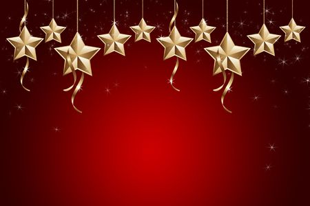 Golden and shiny stars on red background photo
