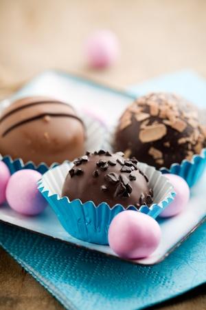 Close up of chocolate pralines with shallow focus Stock fotó - 8740924