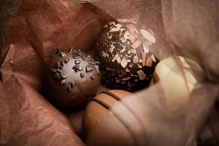 chocolate truffle: Close up of chocolate pralines with shallow focus
