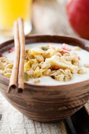 crunchy: Healthy breakfast with yogurt and muesli, selective focus