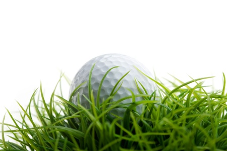 golf ball: Golf ball on green grass, selective focus Stock Photo