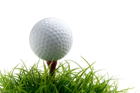 cut grass: Golf ball on green grass, selective focus Stock Photo