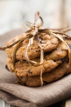 Pile of delicious chocolate chip cookies on table Stock fotó - 9042804