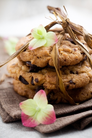 Pile of delicious chocolate chip cookies on table Stock Photo - 9042812