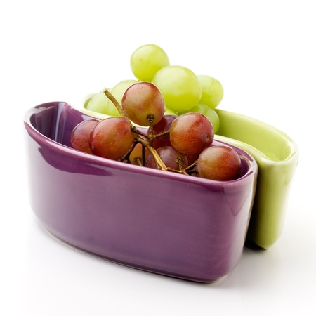 Fresh green and red grapes on white isolated background Stock Photo - 9042942