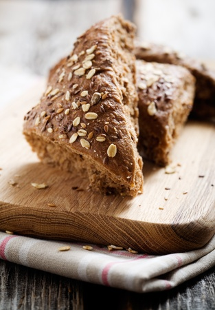 Fresh homemade bread on wooden table, selective focus Stock fotó - 9151540