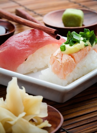 Nigiri sushi on white plate, selective focus Stock Photo - 9707157