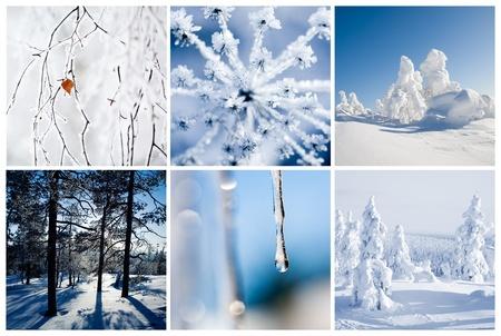 Финляндия: Зимний коллаж из Финляндии с красивыми деталями