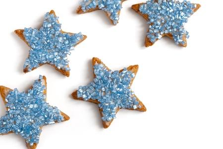 galletas de jengibre: Hornear forma de estrella de navidad galletas, enfoque selectivo Foto de archivo