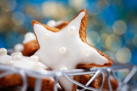 Baking star shape christmas cookies, selective focus Stock fotó - 10708155