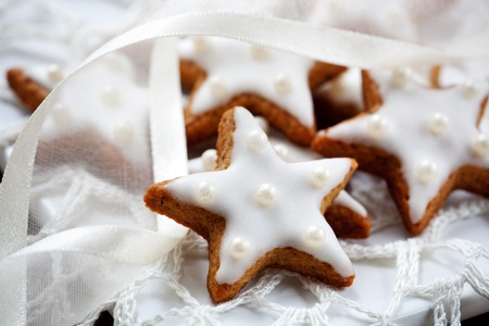 frosting: Christmas cookies with white icing, selective focus