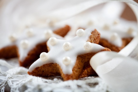 Christmas cookies with white icing, selective focus photo