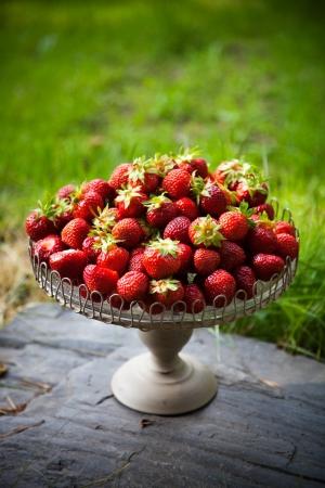 Fresh strawberries on beautiful plate, selective focus photo