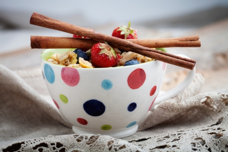 corn flakes: Breakfast muesli with dried fruits and seeds Stock Photo