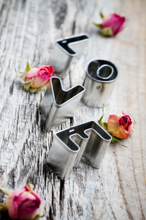 biscuit: Letters of love cookie cutters with dried roses