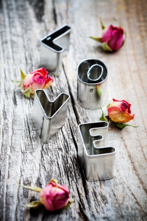 Cute little cookie cutters for word love  photo