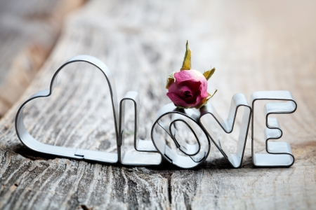 wood cutter: Letters of love cookie cutters with dried roses