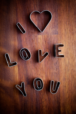 love silhouette: Letters of love cookie cutters for Valentine´s day